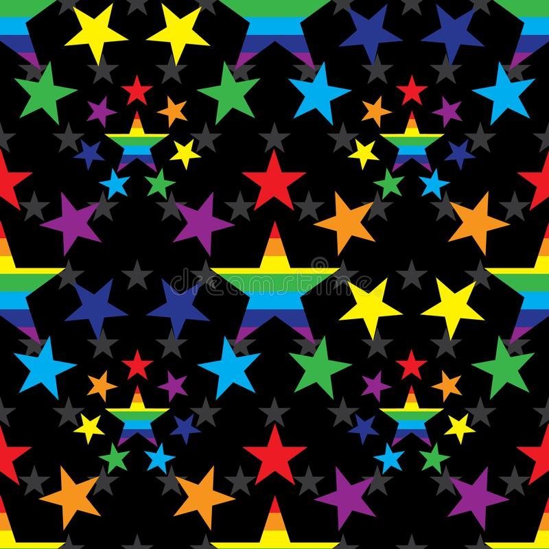 Star around rainbow color seamless pattern royalty free illustration