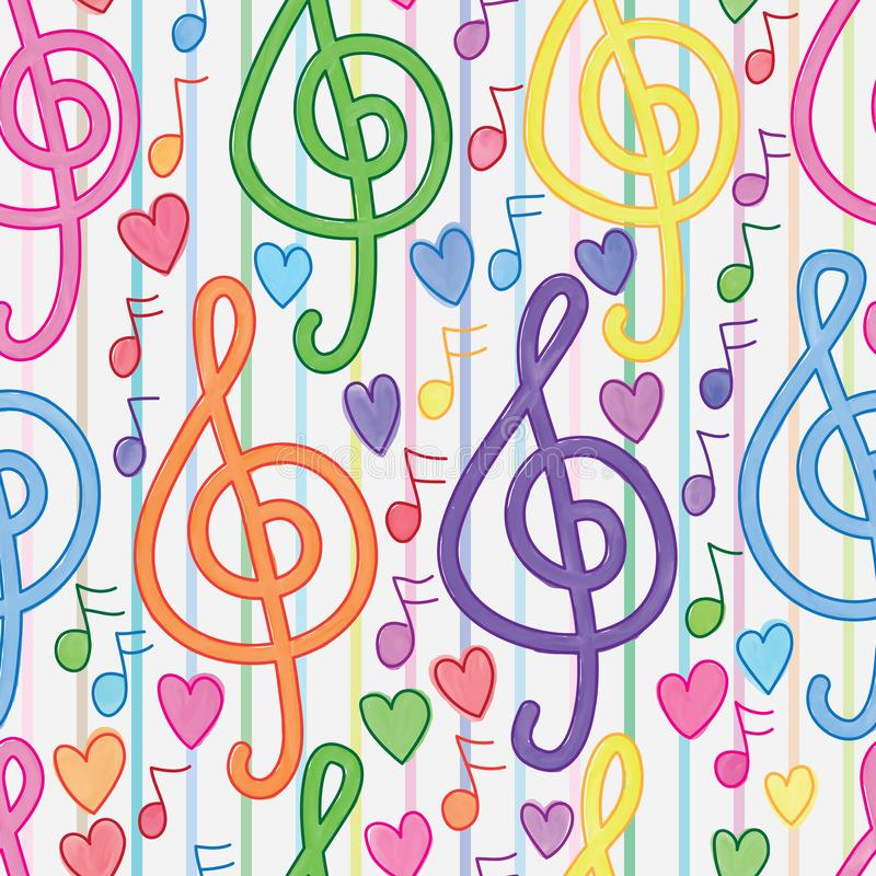 Music note vertical line watercolor seamless pattern. This illustration is design and drawing watercolor music note with love and vertical line in seamless vector illustration