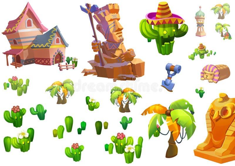 Illustration: Design för ökentemabeståndsdelar Modiga tillgångar Huset, trädet, kaktuns, stenstatyn royaltyfri illustrationer