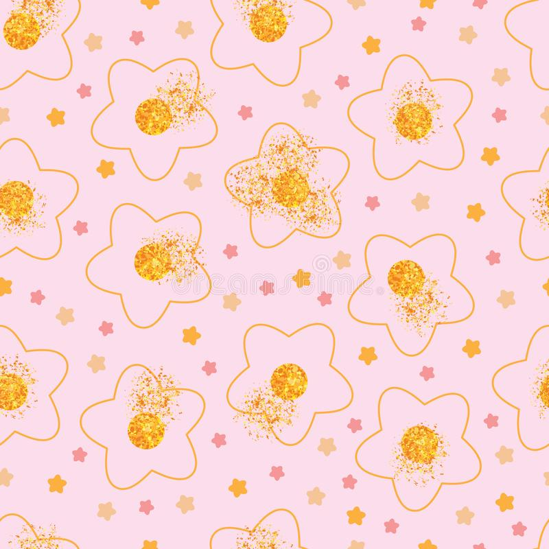 Flower golden glitter spread seamless pattern stock illustration