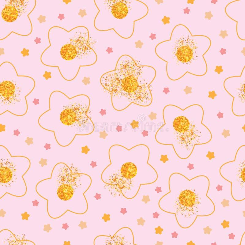 Flower golden glitter spread seamless pattern. This illustration is design feminine star flower with golden glitter spread in pink color background seamless stock illustration