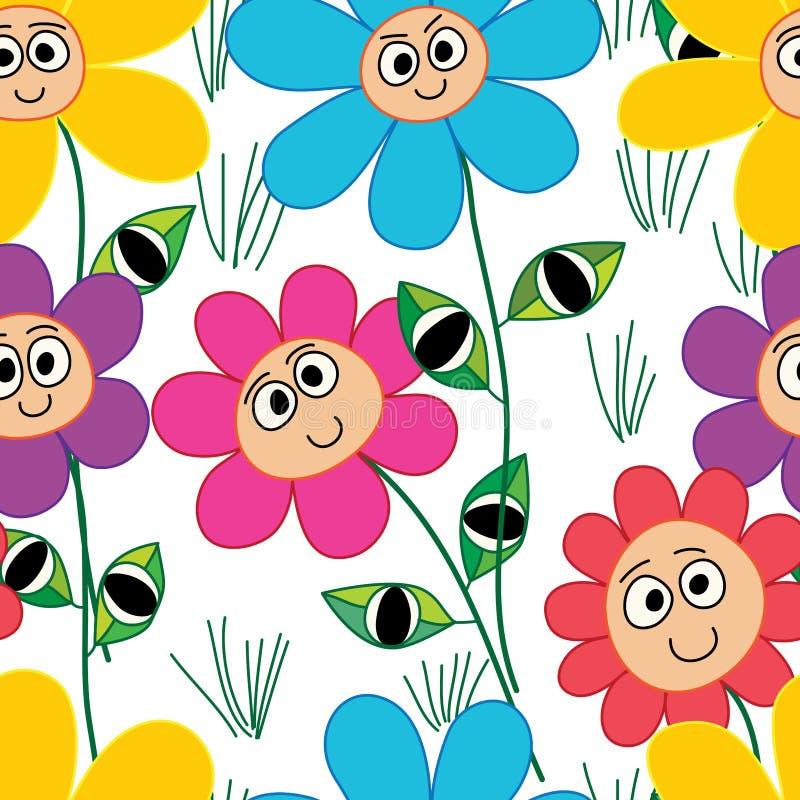 Flower cartoon face leaf eye seamless pattern stock illustration