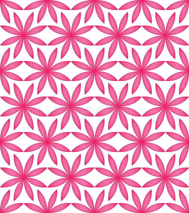 Flower pink full symmetry seamless pattern stock illustration