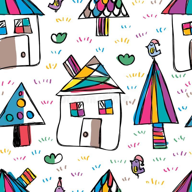 House tree bird free drawing seamless pattern vector illustration