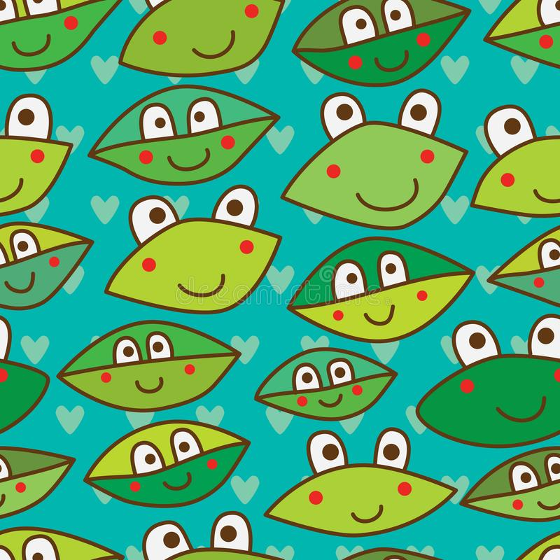 Leaf funny look seamless pattern. This illustration is design idea frog, leaf funny look in love symmetry and seamless pattern background vector illustration