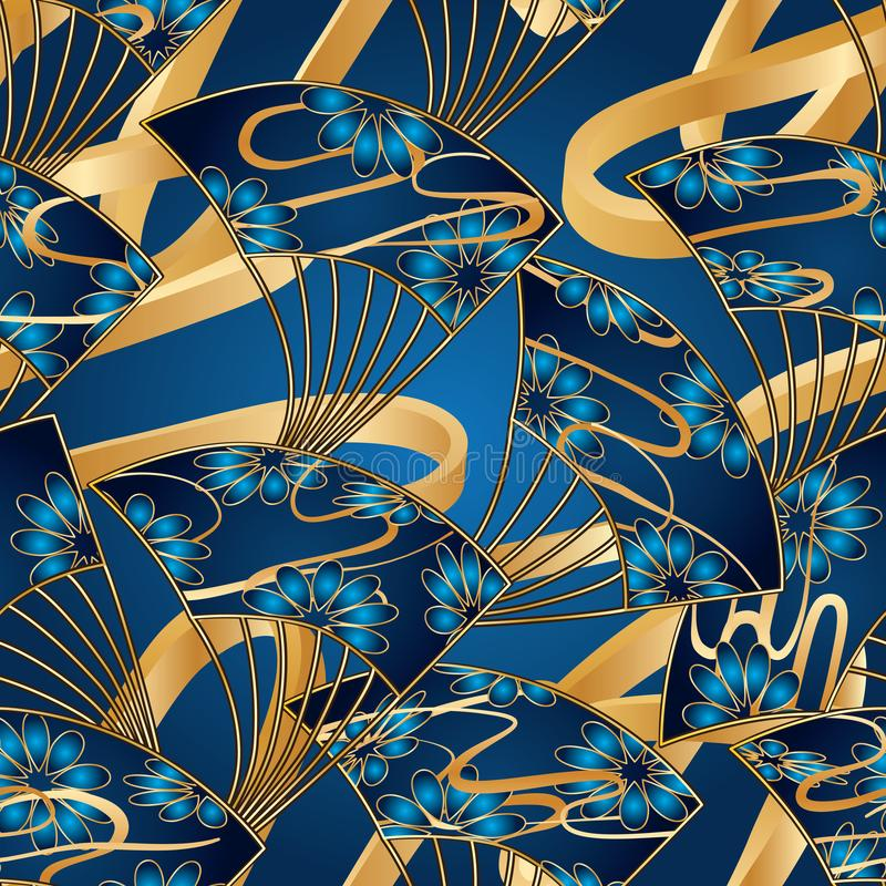 Japan fan cloud line long 3d blue gold seamless pattern vector illustration