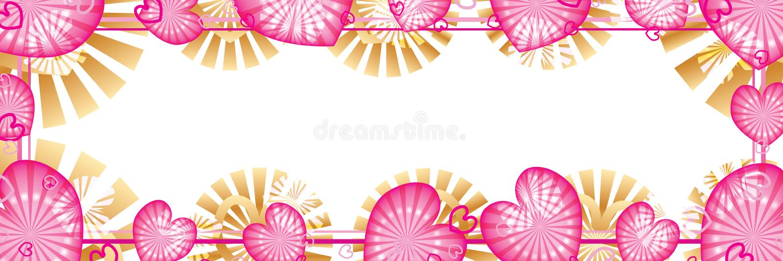 Love pink ray dot banner effect CMYK vector illustration