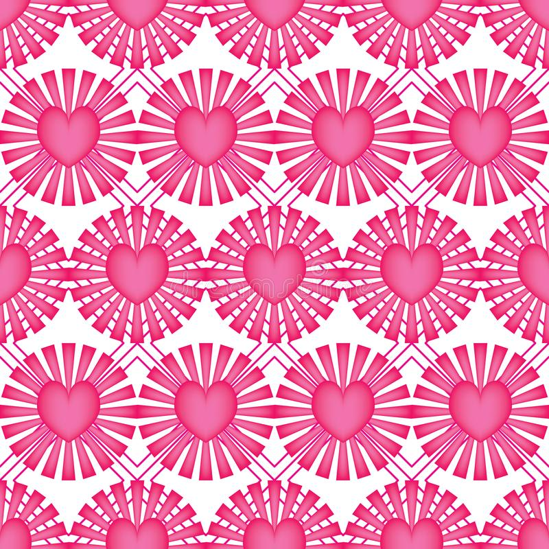 Love ray pink diamond shape symmetry seamless pattern stock illustration