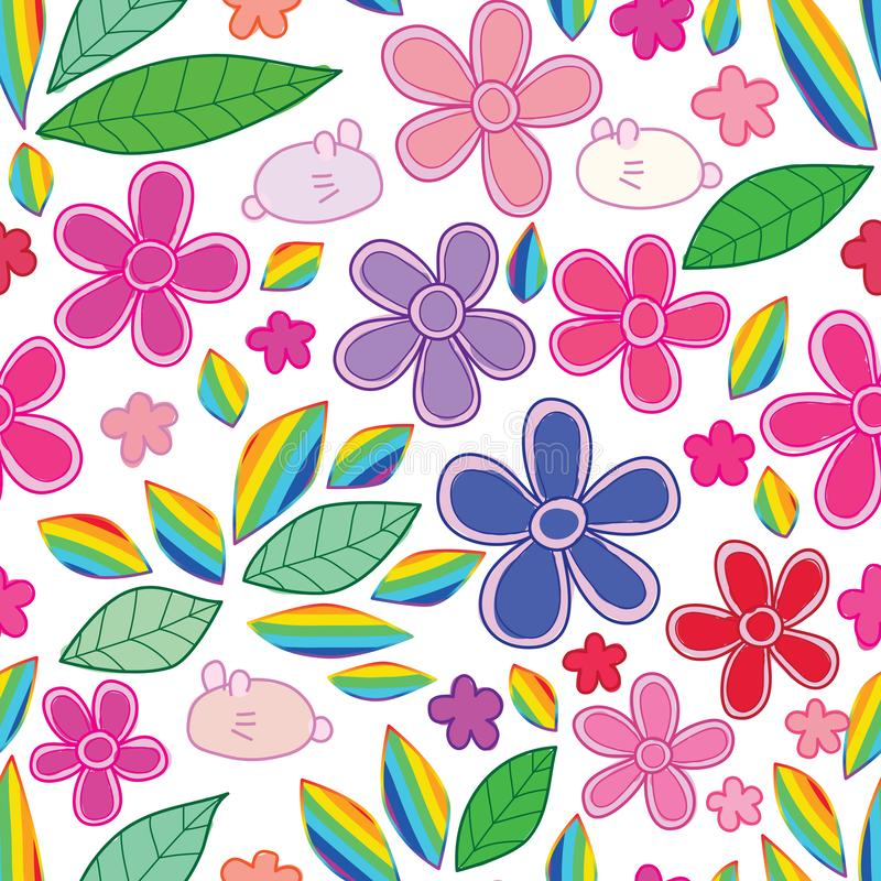 Rabbit flower leaf rainbow seamless pattern royalty free illustration