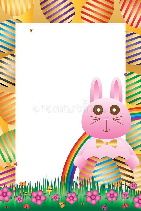 Rabbit hold Easter egg side frame. This illustration is design rabbit hold Easter egg with colorful background decoration field flowers, butterflies and grasses stock illustration