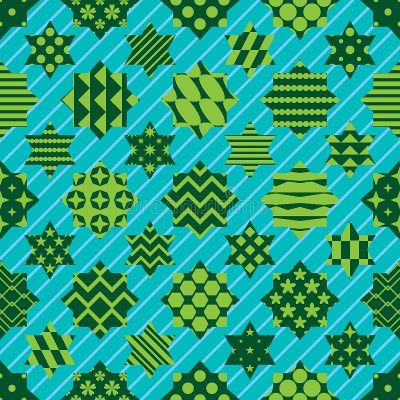 Ramadan element cut six star diagonal line symmetry seamless pattern royalty free illustration