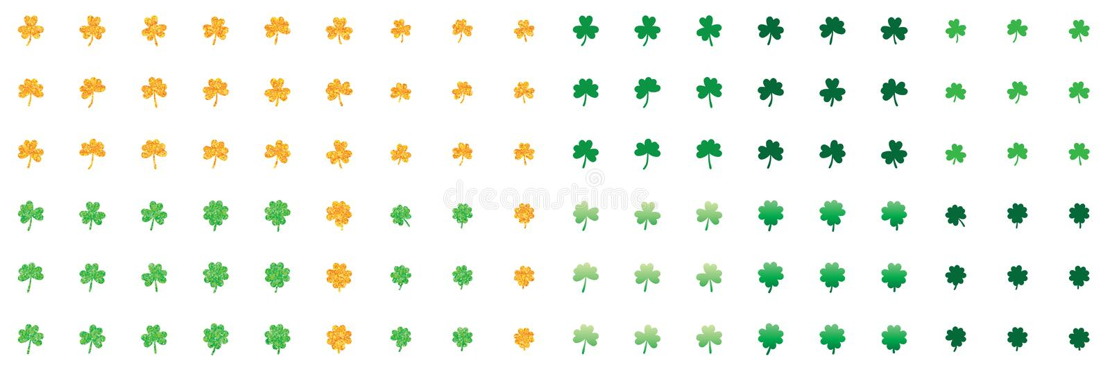 Shamrock leaf love gold glitter green set stock illustration