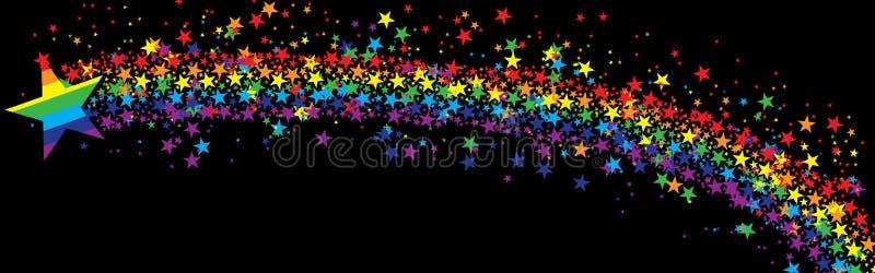 Star rainbow fly banner black stock illustration