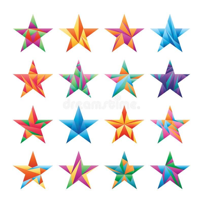 Star triangle cut color set vector illustration