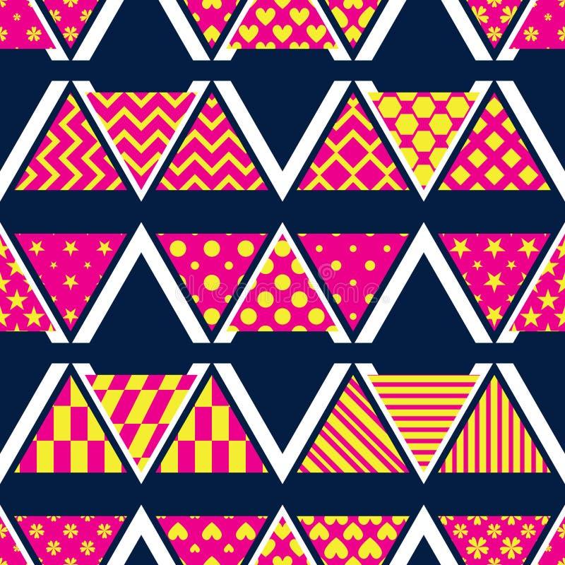 Triangle pattern cut style group M W V seamless pattern royalty free illustration
