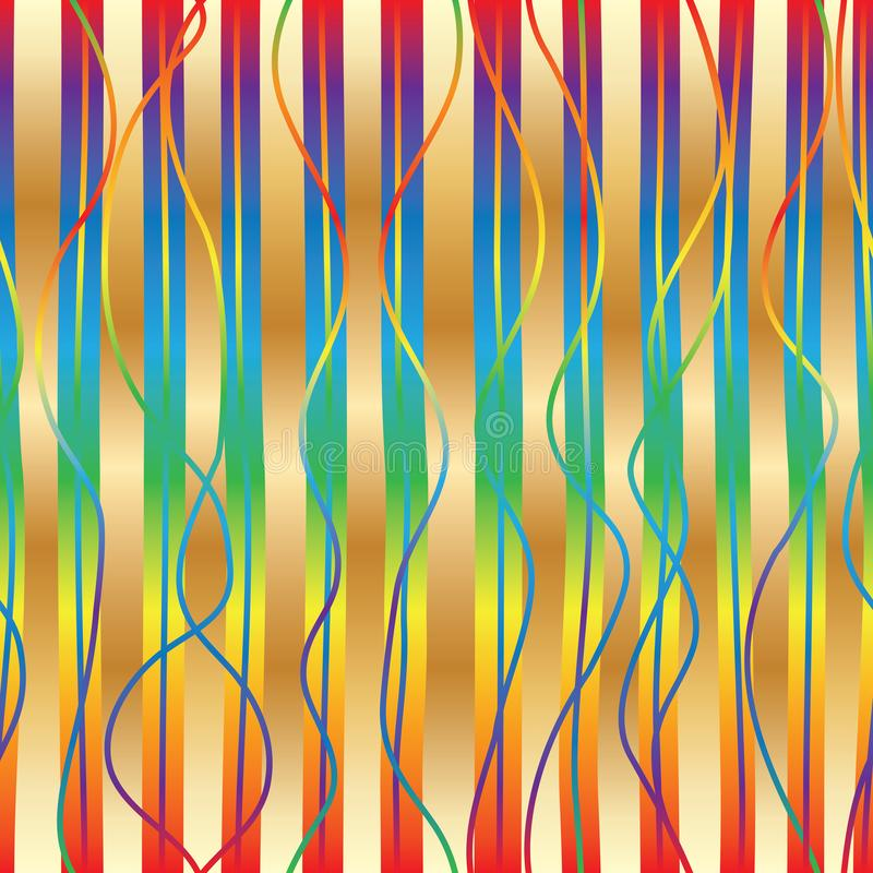 Vertical gradient rainbow gold style seamless pattern royalty free illustration