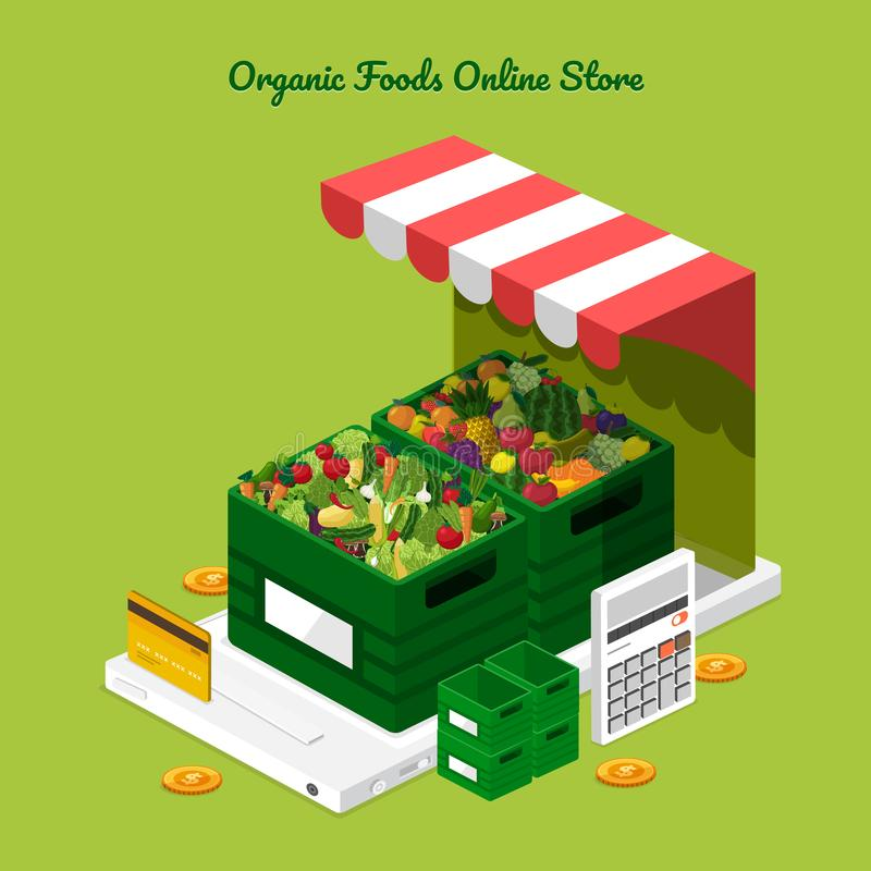 Fruits & Vegetables Online Store vector illustration