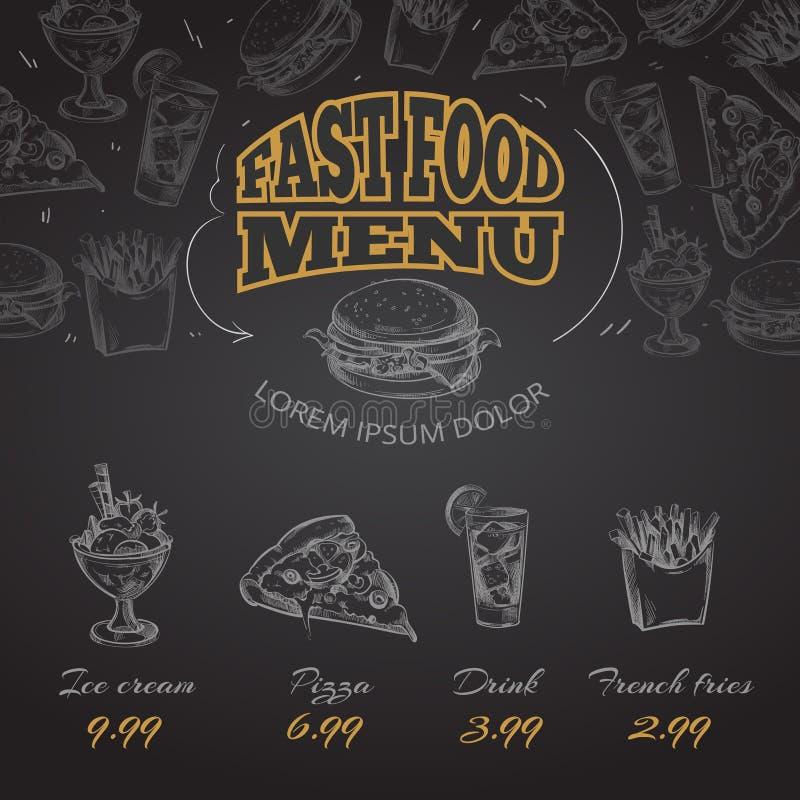 Illustration dessinée de vecteur de style de menu d'aliments de préparation rapide de tableau à disposition illustration de vecteur