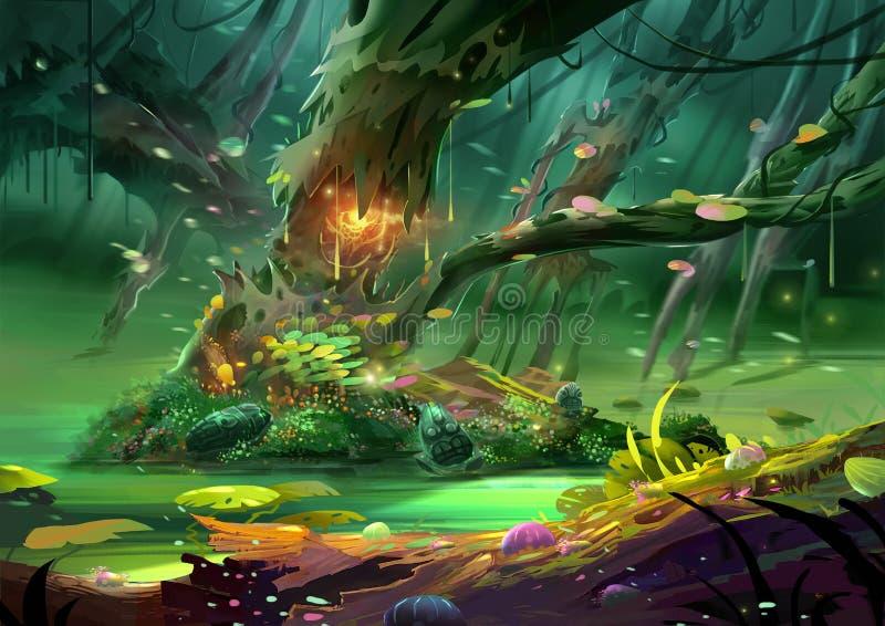 Illustration: Det magiska trädet i den storartade och mystiska och läskiga skogen stock illustrationer