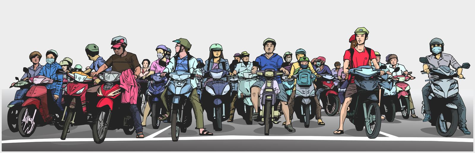 Illustration with detail of busy asian street with motorbikes and mopeds at stop sign vector illustration