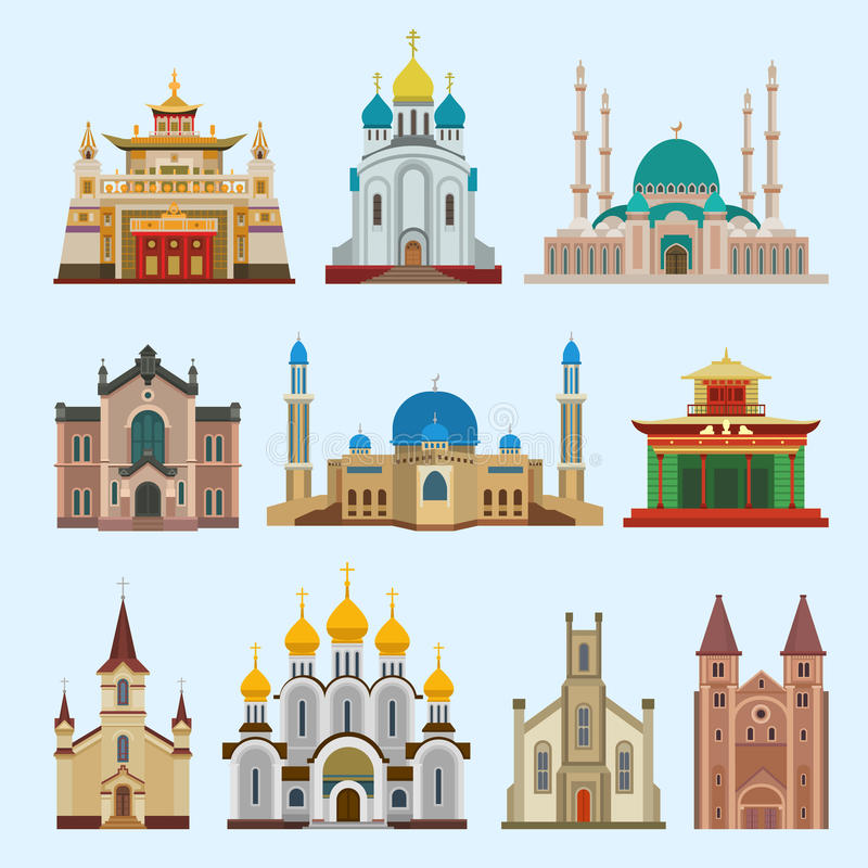 Illustration dfferent de vecteur de tourisme de point de repère de bâtiment traditionnel de temple de croyance de religion d'égli illustration de vecteur