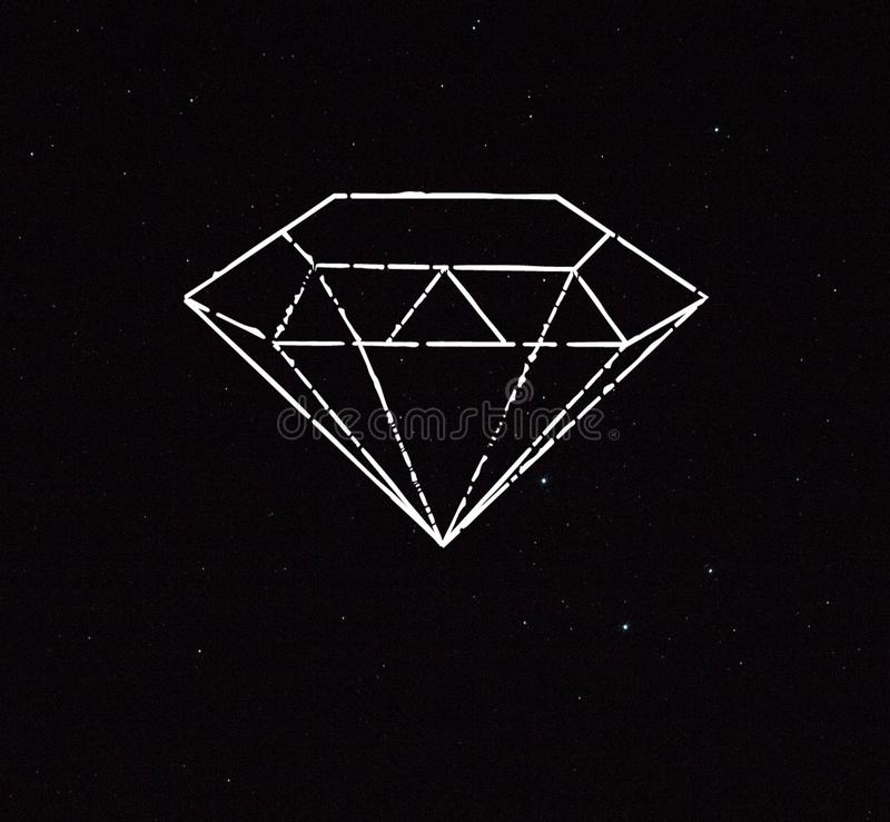 Illustration of a diamond crystal in the sky stock photography