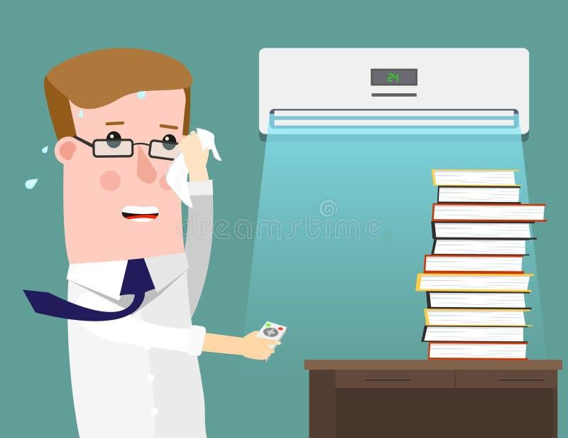 Illustration, die einen Geschäftsmann Sweating Profusely in seinem Büro kennzeichnet Klimaanlage speichert in der Hitze lizenzfreie abbildung