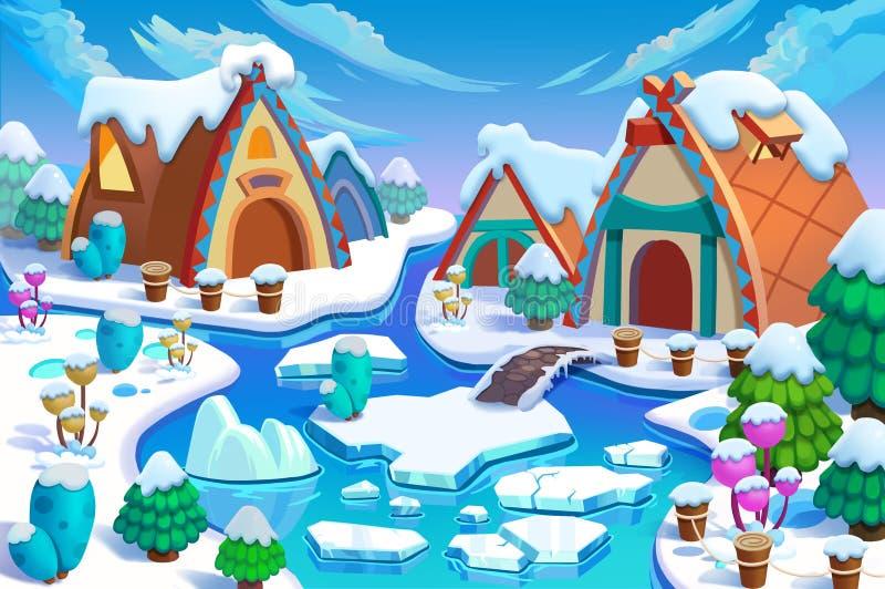 Illustration: Die Häuschen des Menschen im Schnee-Land in der großen Eiszeit! Kabine, Zaun, Anlage, Eis-Fluss vektor abbildung