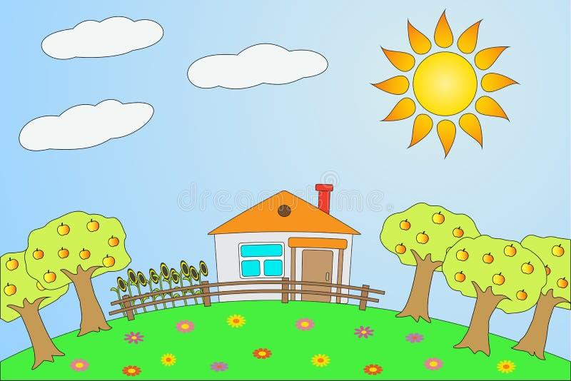 Illustration die ländliche Landschaft im Sommer. lizenzfreie abbildung