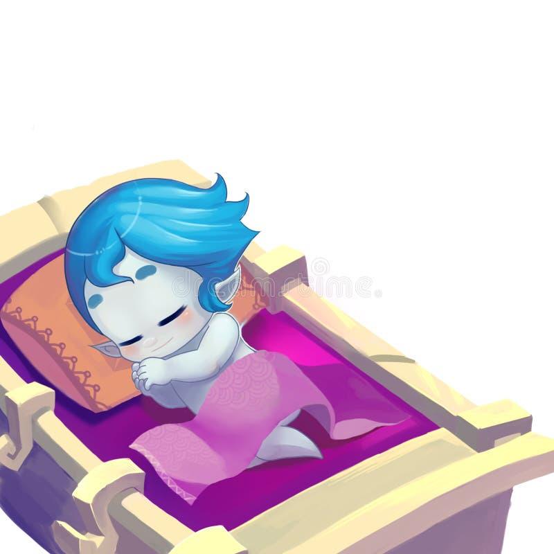Illustration: Die magische Schnee-Prinzessin Sleep in der hölzernen Krippe lizenzfreie abbildung