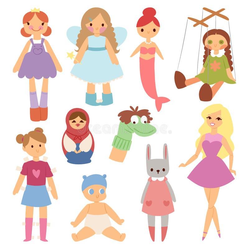 Illustration différente de vecteur d'enfance d'habillement de robe de jeu de caractère de vêtements de jeunes de mode de poupées illustration stock