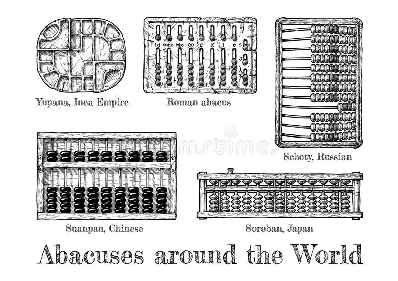 Illustration of different abacus. Abacuses around the world. Vector hand drawn illustration of the different abaci. Yupana – Inca Empire, Roman abacus royalty free illustration