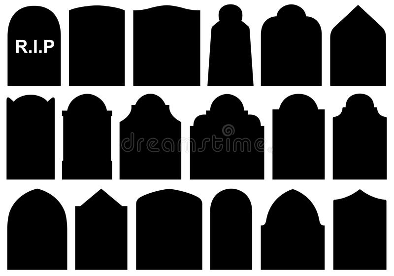Illustration of different Halloween gravestones royalty free illustration