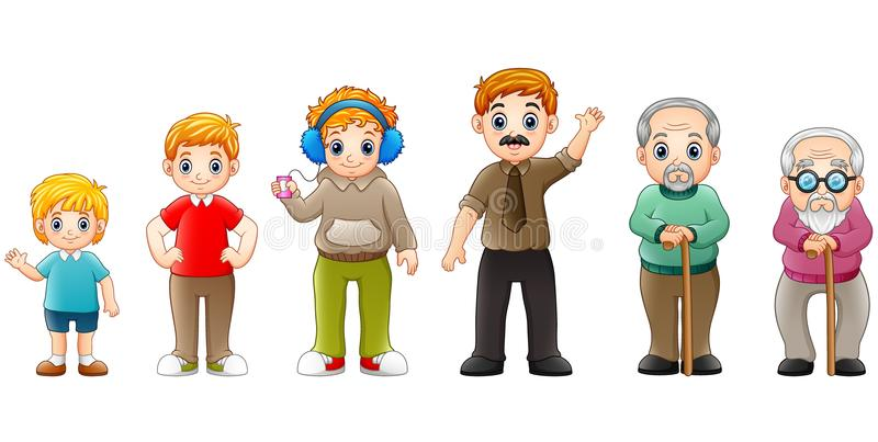 Different stage of life of a male from young to old vector illustration