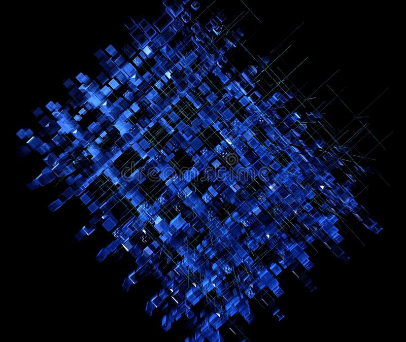 Illustration digital abstract technology circuit background. urban digital 3D extrude squares abstract blue illustration stock illustration