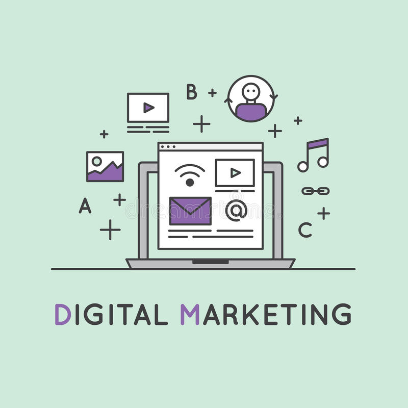 Illustration of Digital Marketing Concept royalty free illustration