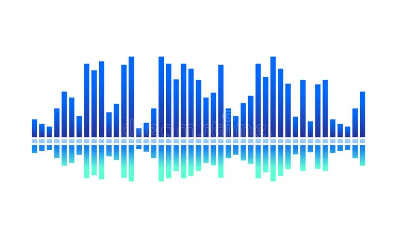 Vector design of digital music wave. Bright blue spectrum-bars. Audio equalizer. Sound pulse vector illustration