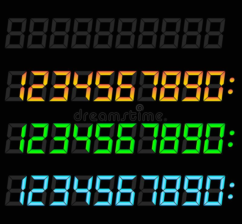 Digital numbers set. Illustration of digital numbers set on black background stock illustration