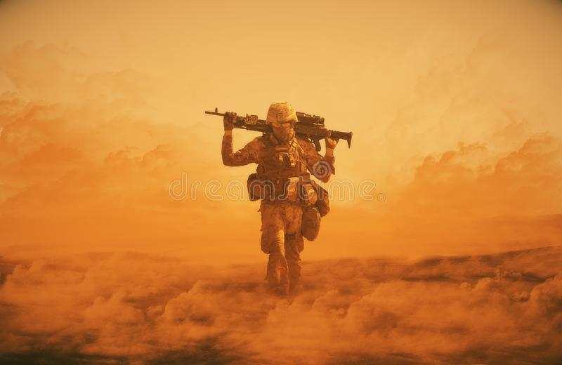 Illustration digital painting/Military soldier walking at desert with gun on his shoulder in front of helicopter royalty free illustration