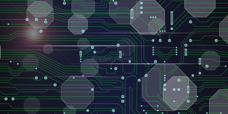 Concept of digital technology. Illustration of a digital technology concept stock illustration