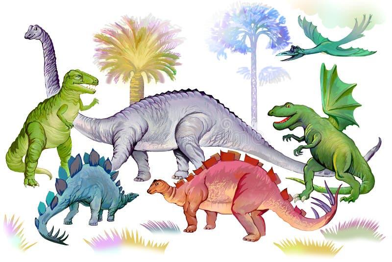 Illustration of dinosaurs in Jurassic period. World of prehistoric animals. Image of ancient imaginary extinct reptiles. stock illustration