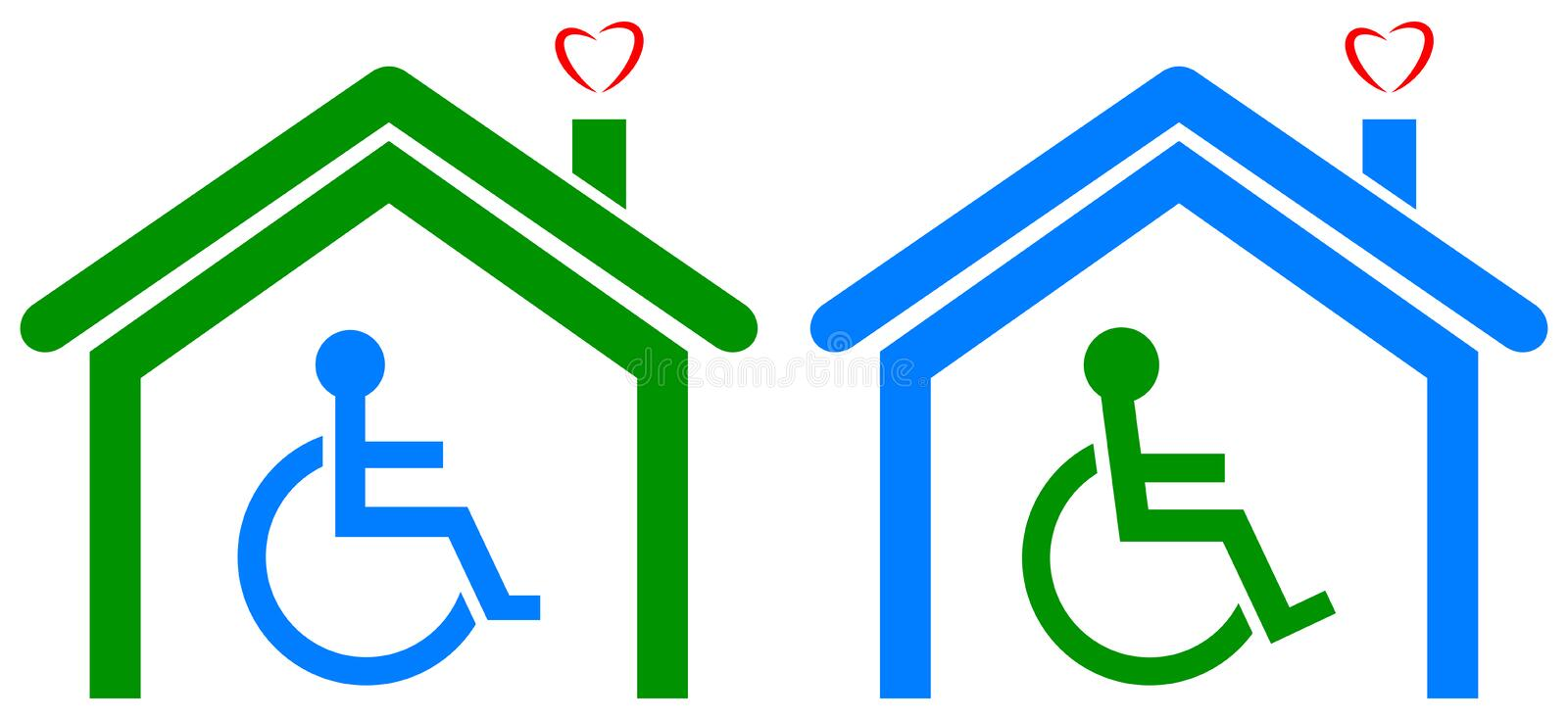 Disabled health care home vector illustration