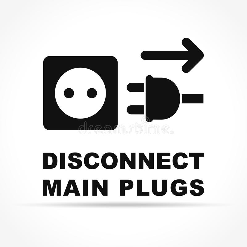 Disconnect main plugs icon concept. Illustration of disconnect main plugs icon concept vector illustration