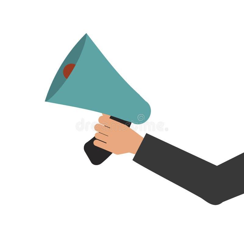 Illustration disponible de vecteur de haut-parleur bruyant de message de communication de corne de brume de mégaphone illustration stock