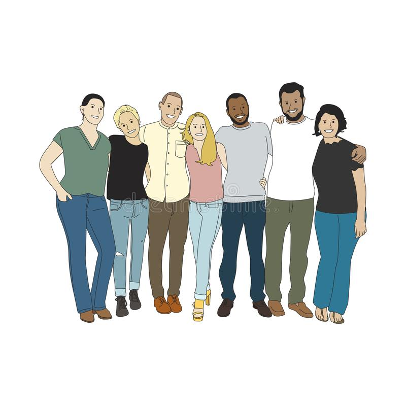 Illustration of diverse people arms around each other royalty free illustration
