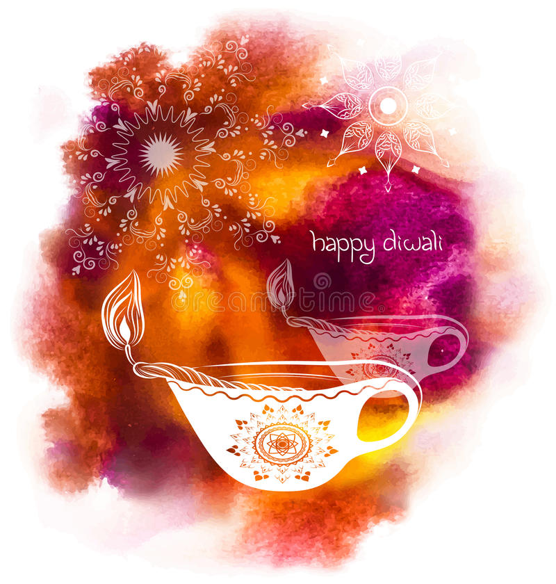 Illustration for Diwali Festival with watercolour background royalty free illustration