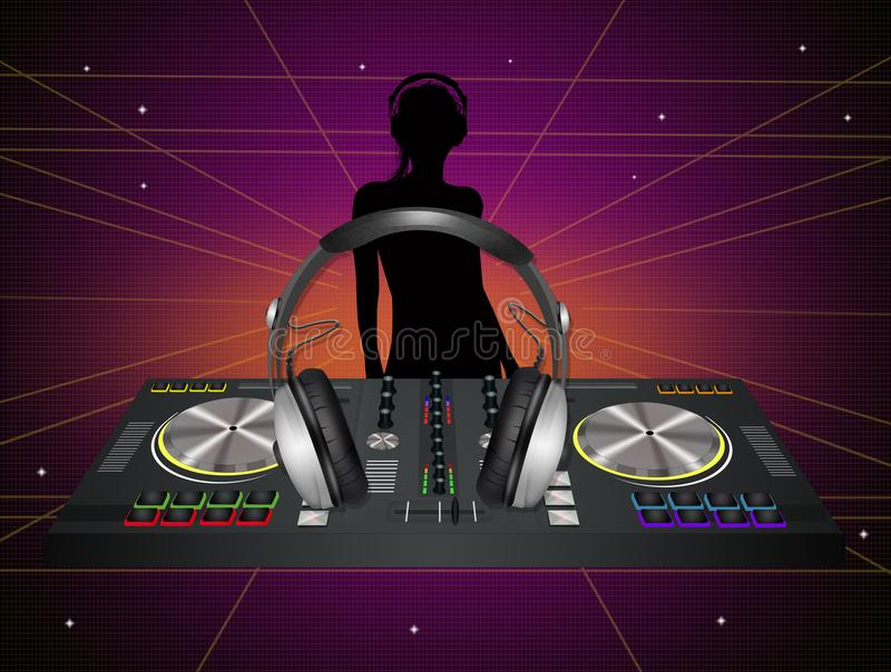 Illustration of dj in the disco royalty free illustration