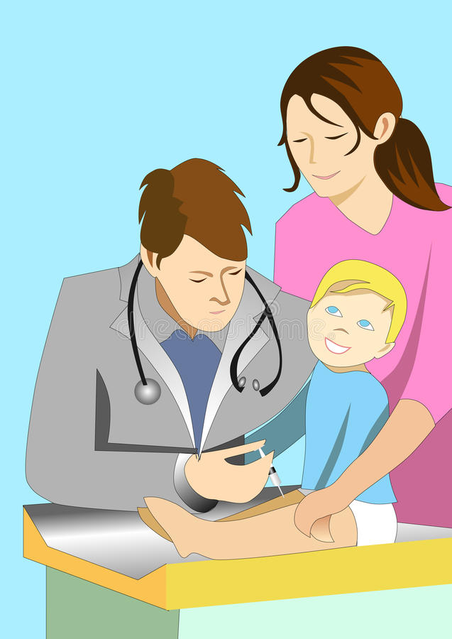 Illustration of doctor giving injection to a baby royalty free stock image