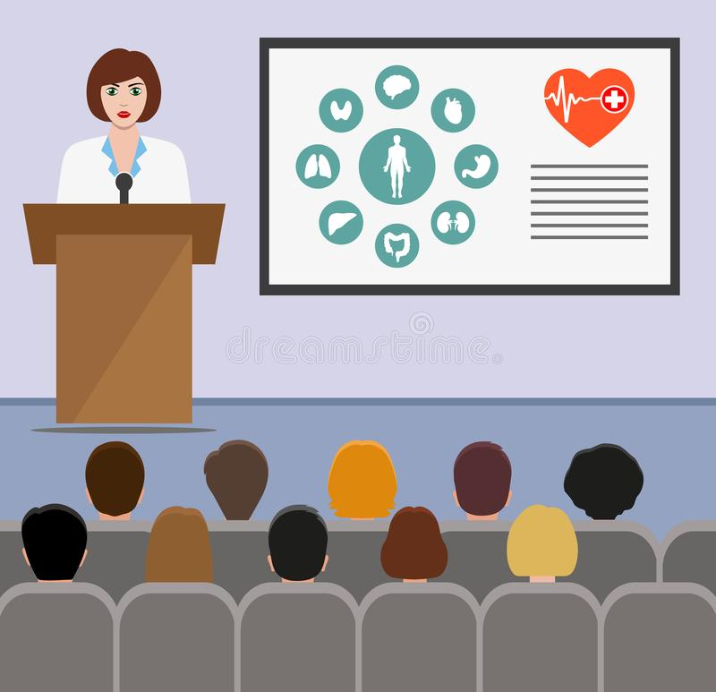 Doctor on the podium in the presentation stand. lecture, seminar, report, presentation, coaching, meeting. Woman in robe teaches s. Illustration of the Doctor on royalty free illustration