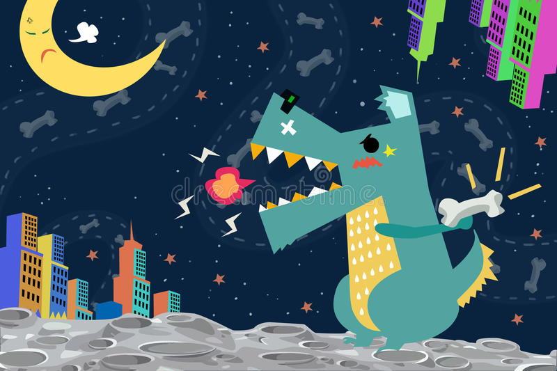 Illustration: Dog Godzilla attack the City on the Space Planet vector illustration